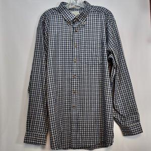 L.L. Bean Navy Blue Check Button Down Shirt XL